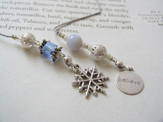 Winter Wonderland Bookmark - Beaded Book Thong in Ice Blue and Silver with Snowflake and Believe Charms
