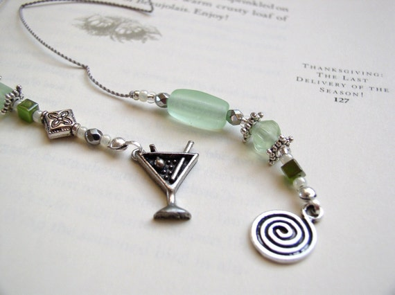 BEADED BOOKMARK Girls' Night Out Martini Cocktail - Jeweled Book Thong in Pale Matte Green Peridot Glass with Pewter Charms