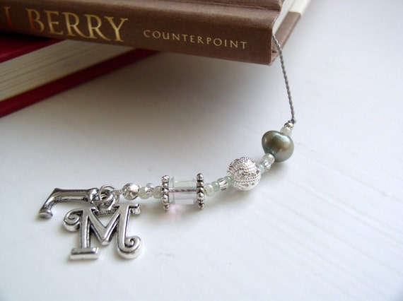 Monogrammed Teal Elegance Beaded Bookmark with Initial Charms- Book Thong in Sage Blue and Pearl with Silver Accents and Hearts Charm