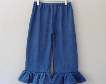 Ruffle Pants, girls boutique clothes, baby girl toddler clothes, Denim Ruffle Pants