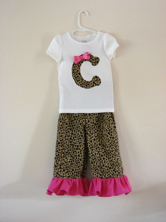 Personalized girl Outfit, Girls Ruffle Pants outfit, leopard print Personalized Shirt