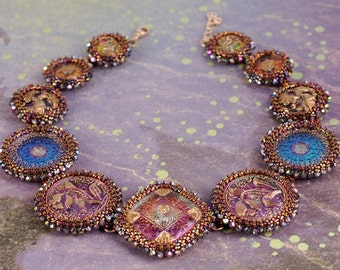Beadwoven Necklace - Dichroic Glass Necklace - Majesty Button Necklace