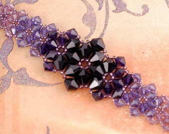 Beadwoven Bracelet - Swarovski Bracelet - Crystal Bracelet  Purple Bracelet - Star Fruit Bracelet