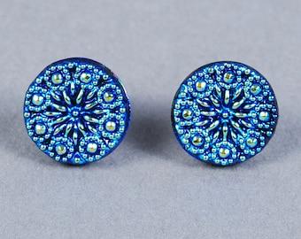Dichroic Glass Earrings - Winter Snowflake Earrings - Post Earrings - Blue Earrings - Glass Earrings - Blue Glass Earrings