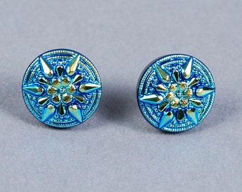 Dichroic Glass Earrings - Star Earrings - Blue Earrings - Glass Earrings - Post Earrings - Blue Glass Earrings