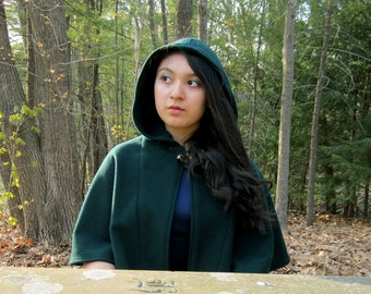 Capelet - Spruce Green Capelet - Wool Capelet  - Hooded Capelet - Capelet with Hood