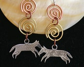 Wild Dog Earrings With Copper and Silver, Hand Made Silver Ear Wires