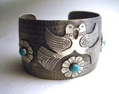 Love Birds Mexican Silver Cuff Bracelet with Resin Cabochons