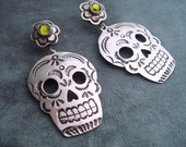 Silver Mexican Day of the Dead Skull and Flower Post Earrings - Olive Green Swarovski Crystals