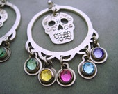 Silver Mexican Sugar Skull Earrings with Multiple Color Swarovski Crystal Drops - Day of the Dead