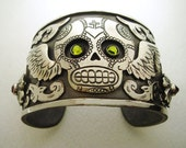 Winged Sugar Skull Antiqued Silver Cuff Bracelet with Cross Heart and Swarovski Crystals - Day  of the Dead