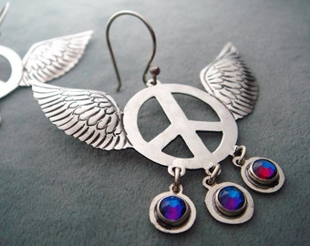 Mexican Silver Winged Peace Sign Earrings with Multicolored Meridian Blue Swarovski Crystals -