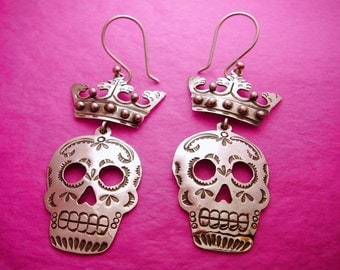 Mexican Silver Crown & Sugar Skull Dangle Earrings - Day of the Dead