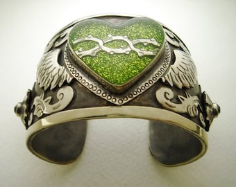 Antiqued Silver Cuff Bracelet with Olive Green Glitter Winged Sacred Heart and Swarovski Crystals