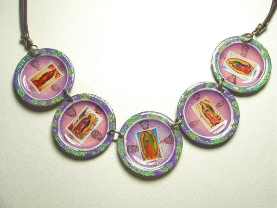 Funky Virgen de Guadalupe 5 Bottle Cap and Leather Necklace