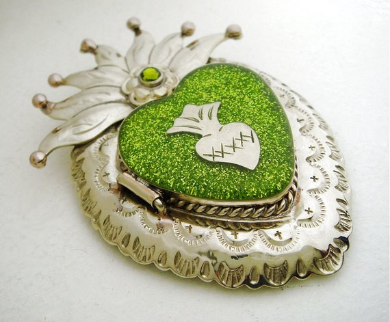 Silver Mexican Sacred Heart Locket Pendant with Sacred Heart Milagro, Olive Green Glitter, Resin, and Swarovski Crystal - Artisan