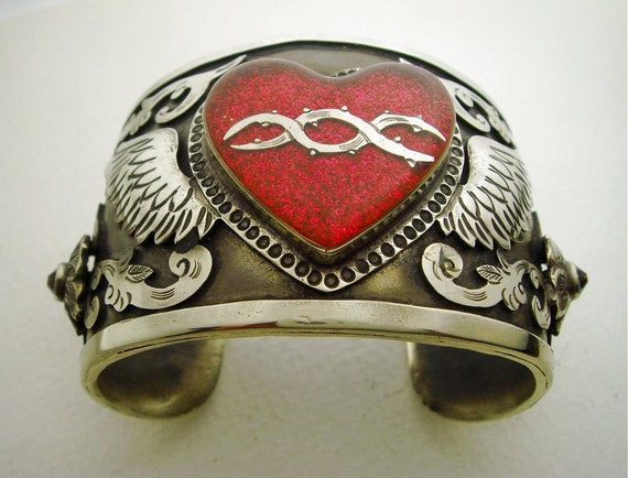 Antiqued Silver Cuff Bracelet with Pink Glitter Winged Sacred Heart and Swarovski Crystals