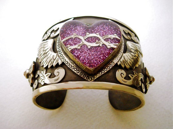Antiqued Silver Cuff Bracelet with Mauve Purple Glitter Winged Sacred Heart and Swarovski Crystals