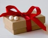 Genuine ivory off white pearl earrings studs - pearls - sterling silver - budget - graduation  gift under 10 dollars - handmade custom