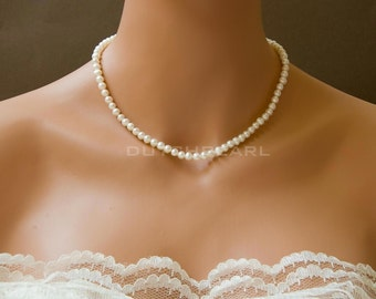 Handknotted delicate pearl necklace - bridesmaid gift - pearls  hand knotted - small tiny - wedding jewelry