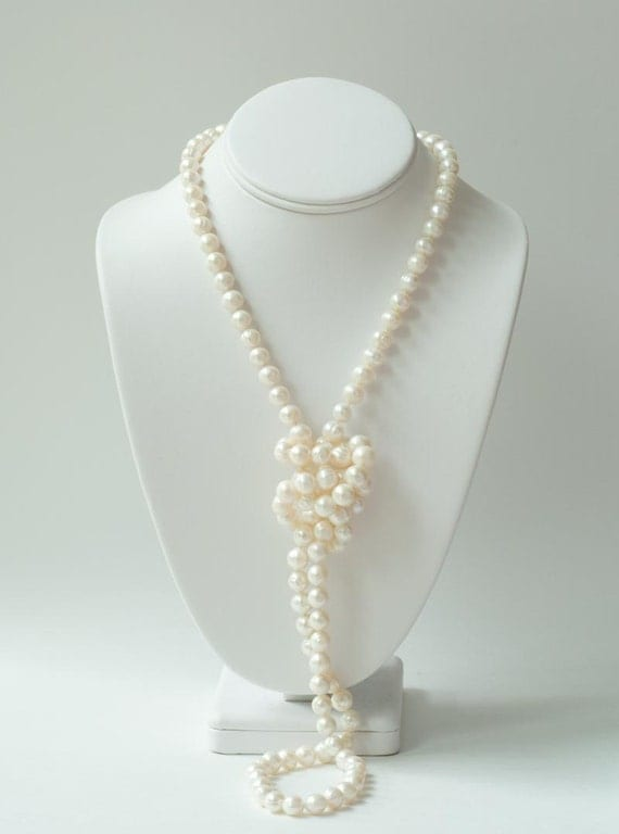 Long Real Pearl Necklace Without Clasp 48 Inch Long