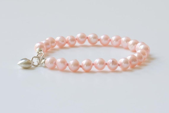 Bracelet real pearls- sterling silver charm puffed heart - genuine bracelet for your little girl - genuine light pink pearls - dutchpearl