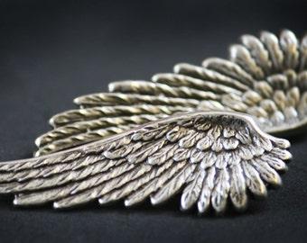 Antiqued Sterling Silver Plated Metal Angel Wings Earrings (Hypoallergenic Post, Sensitive Studs) (Sale, Clearance)