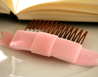 SALE Baby Pink Velvet Ribbon Bow Hair Comb  (Special Occasion, Party, Gift, front page etsy)