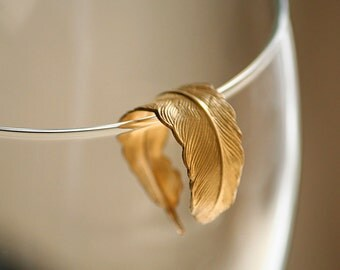 Brilliant Gold Bird Feather Adjustable Ring  (Nature, Quill, Angel, Wing, Boho, Hippie)