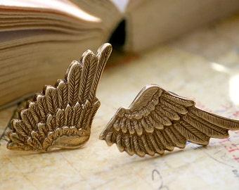 Small Antiqued Brass Metal Elf Angel Wings Earrings (Sensitive Ears, Hypoallergenic) (Post, Studs)