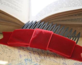 Holiday Red Velvet Ribbon Bow Hair Comb (Vintage Inspired, Valentine, Lolita)