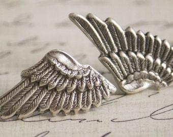 Small Sterling Silver Plated Metal Elf Angel Wings Earrings (Sensitive Ears, Hypoallergenic, Nickel & Lead Free) (Post, Studs)