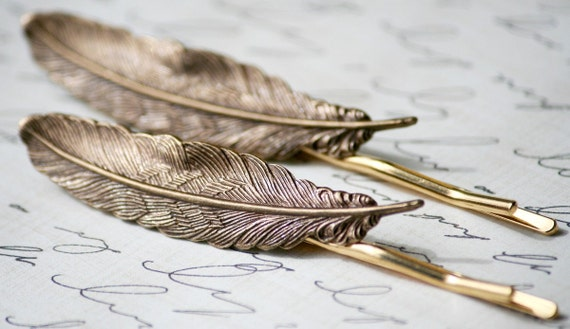 Antique Brass Bird Feathers on Gold Plated Metal Bobby Pins (Hair Pins) (Gift Set of 2 ) (Nature, Quill, Angel, Wing, Boho, Hippie, Mothers Day)