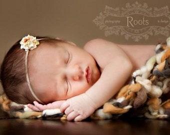 Cream Flower Headband. Vanilla. Tiny Rose.  Rosette. Thin Elastic. Newborn Headband. Baby Headband. Ivory flower. Photography Prop. Petite.