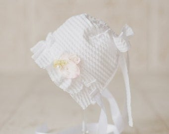NICOLE- White. Ivory. Newborn Fabric Bonnet. Vintage Style. Blessing. Baptism. Baby Girl. Photo Prop..Tolola Designs