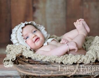 GWEN- Ruffled. Linen. Newborn Fabric Bonnet. Vintage Style. Baby Girl. Photograhy Prop. Tolola Design.