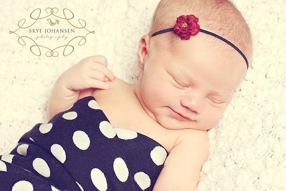 Petite Silk Flower Headband JOSIE- Little Red Thin Elastic Rosebud