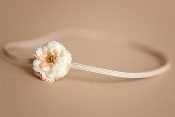 Flower Headband JOSIE- Vanilla Cream Tiny Rosette Skinny Thin Elastic