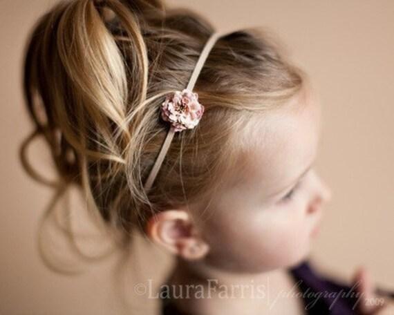 Flower Headband. JOSIE- Pretty in Pink. Skinny Elastic. Briar Rose. Newborn. Baby. Girl. Adult.