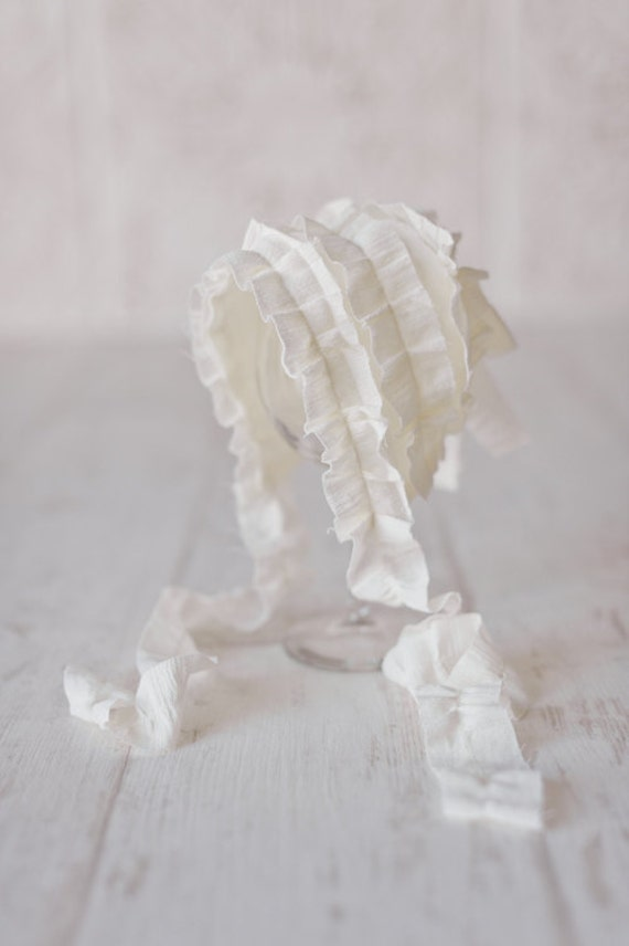 LILY- Ruffled Ivory Newborn Fabric Bonnet Vintage Style- Baby Girl Photo Prop