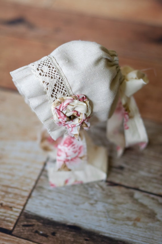 ANNIE- Fabric Bonnet- Vintage Style- Cream and Pink Floral- Shabby Chic- Photo Prop Baby Girl