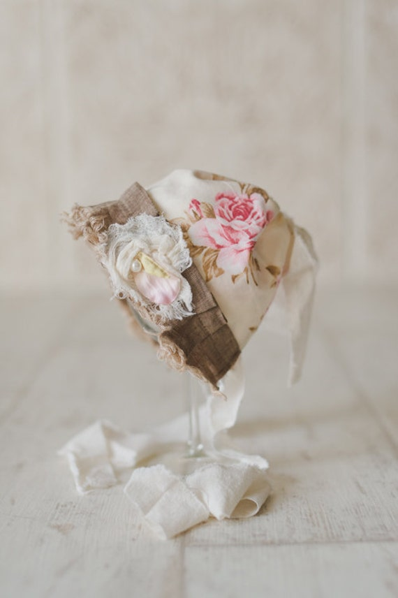 STELLA- Pink and Cream Floral Fabric Baby Bonnet-Vintage Style-Shabby Chic-Baby Girl Newborn Photo Prop