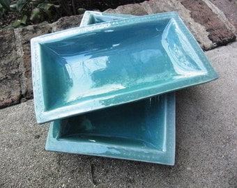 Set of 2 Stoneware Trays