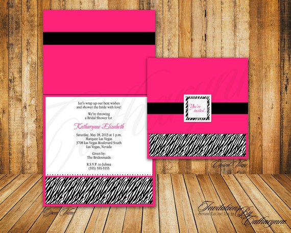 Bridal Shower or Birthday Zebra Print Invitations