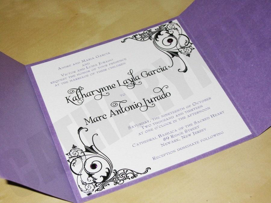 Purple Wedding Invitations Purple And Black By Catharynne On Etsy