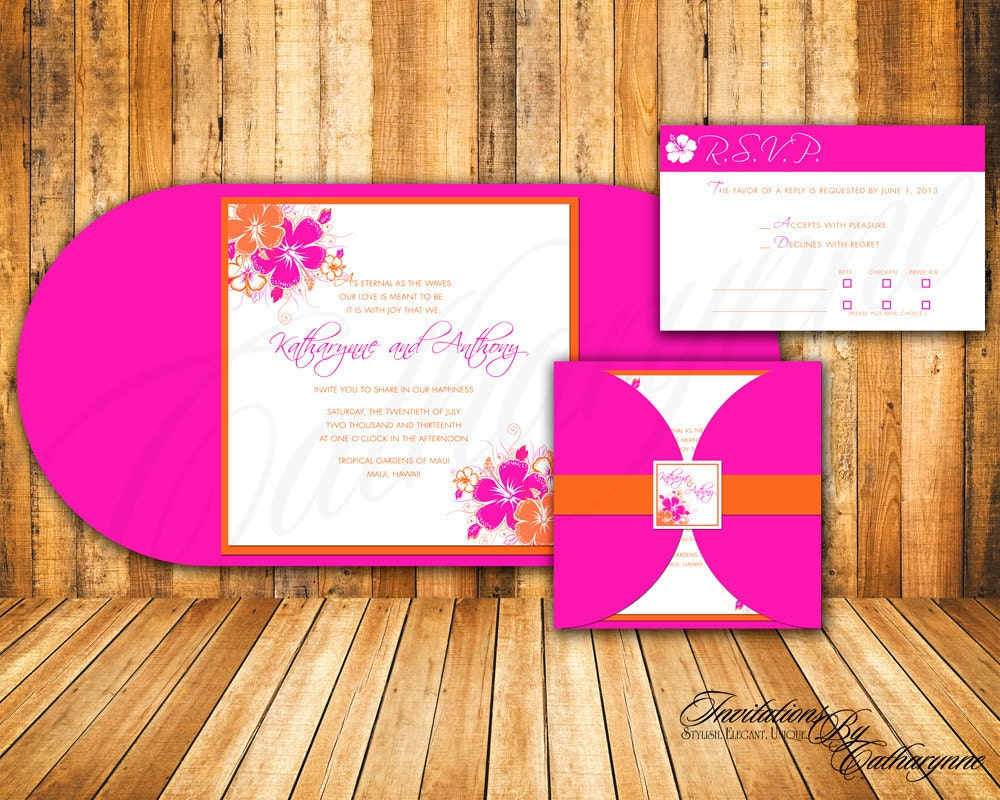 Fuschia And Orange Wedding Invitations: Tropical Wedding Invitation The Modern Hibiscus Collection