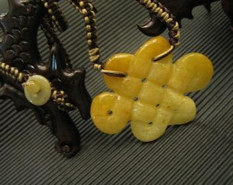 Yellow Jade RUYI ...  Pendant / choker / Necklace ... Handknotting jewelry
