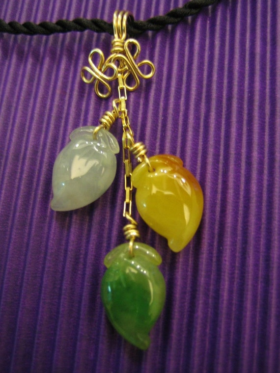 BIRTHDAY PEACH .. Natural Jade ..  14kt gold filled wire Pendant