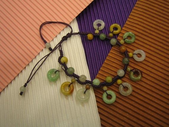 FASCINATOR  .. Natural Jade Bracelet / Anklet  ..  Handknotting Jewelry