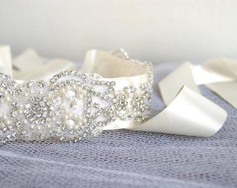 Bridal Sash - ANTOINETTE Rhinestone and Pearl Wedding Belt